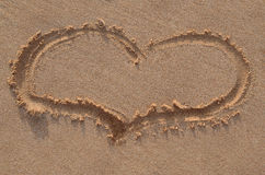 Heart Shape on a Sand Stock Images