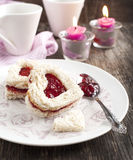 Heart shape sandwich with strawberry jam Royalty Free Stock Photography