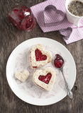Heart shape sandwich with strawberry jam for breakfast Stock Image