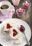 Heart shape sandwich with strawberry jam Stock Photography