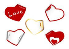 Heart shape set of stickers. Stock Image