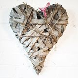 Heart shape. D wood. With ribbon stock image