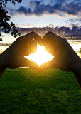 Heart Shape Silhouette on Sunset Royalty Free Stock Images
