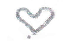 Heart shape of silvery Christmas tinsel Royalty Free Stock Photography