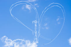 Heart shape on the sky during the airshow. Heart shape on the sky - airshow royalty free stock photography