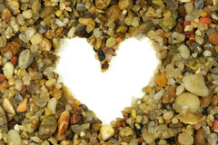 Heart shape in small rocks Stock Photo