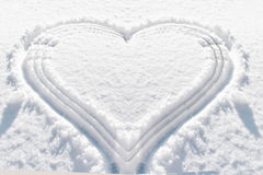 Heart shape snow background Royalty Free Stock Photo