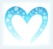 Heart shape with snowflakes Stock Image