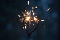 Heart shape sparkler Royalty Free Stock Photo