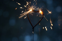 Heart shape sparkler Stock Photography