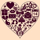 Heart shape with St. Valentine Day icons. Background to the day of lovers. Royalty Free Stock Image