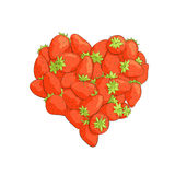 Heart shape by strawberries Royalty Free Stock Photo