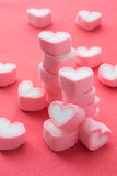 Heart shape strawberry marshmallows. On pink background stock image