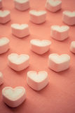 Heart shape strawberry marshmallows. In vintage style stock photo