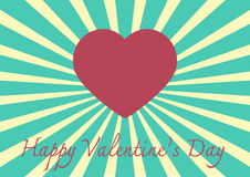 Heart shape on a Sunrays Illustration with Valentine's Day conce Royalty Free Stock Image