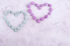 Heart shape from sweets. Sweet hearts with place for text. Greeting card for love day royalty free stock photos
