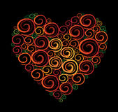 Heart Shape Swirl Black background Stock Image