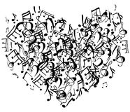Heart shape symbol of notes. Vector illustration Stock Images