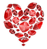 Heart shape symbol from red ruby gems on white Stock Image