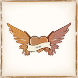 Heart shape tattoo. Image of a vintage style heart shape tattoo with angel wings Royalty Free Stock Photography