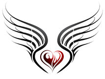 Heart shape tattoo with wings. Tattoo design with heart shape and wings Royalty Free Stock Photo