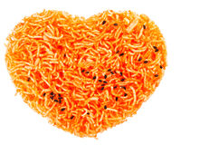 Heart shape Thai style crisp fried rice noodle Royalty Free Stock Photos