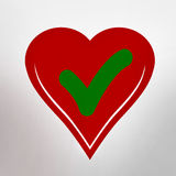 Heart shape with tick Royalty Free Stock Images