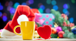 Heart shape toy and cup Royalty Free Stock Photography