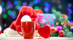 Heart shape toy and cup Royalty Free Stock Photos