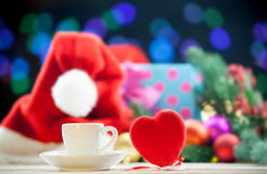 Heart shape toy and cup Stock Photos