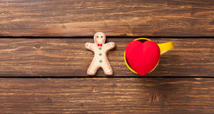 Heart shape toy and gingerbread man Stock Photo