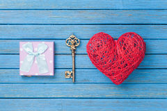 Heart shape toy with key and gift box Stock Photography