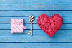 Heart shape toy with key and gift box Stock Photo