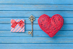Heart shape toy with key and gift box Stock Photos