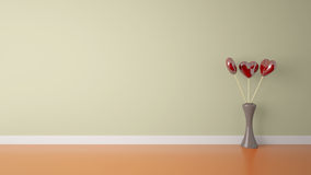 Heart Shape Toy With Vase In Cream Wall And Orange Floor Room Stock Photos