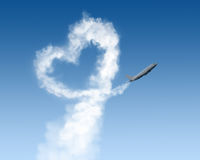 Heart Shape Track From Plane On Blue Stock Photos