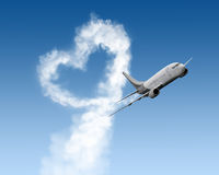 Heart shape track from large plane Royalty Free Stock Photography
