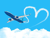 Heart shape track from plane Stock Photography
