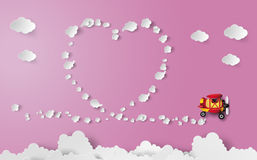 Heart shape track from plane Royalty Free Stock Images