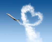 Heart shape track from plane in sky Royalty Free Stock Photos