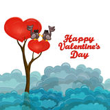Heart shape tree with couple of birds singing love song Royalty Free Stock Images