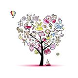 Heart shape tree with toys for baby girl Royalty Free Stock Photo