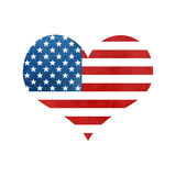 Heart shape USA America Flag. Watercolor heart shape USA America Flag. I love America heart shape symbol with white isolated background. Watercolor heart with vector illustration