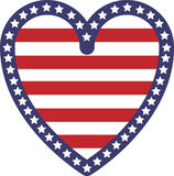 Heart Shape USA Flag Stock Photography