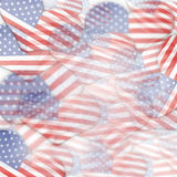 Heart shape USA flags. Multiple heart shaped American flags overlapping Stock Photos