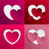 Heart Shape Valentine's Day Paper Cut-out Vector Stock Photo