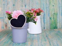 Heart shape in vase on wooden Royalty Free Stock Image