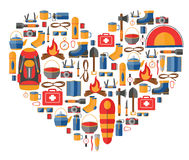 Heart shape vector illustration with camping and hiking equipment. Infographic tourism elements Stock Images