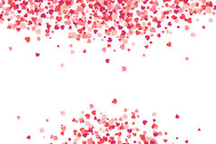 Heart shape vector pink confetti frame Valentine`s Day background. Isolated on white Stock Photos