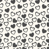 Heart shape vector seamless pattern. Black and stock illustration